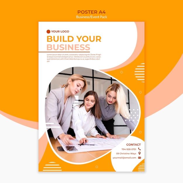 Posterontwerp voor het opbouwen van een bedrijf Gratis Psd