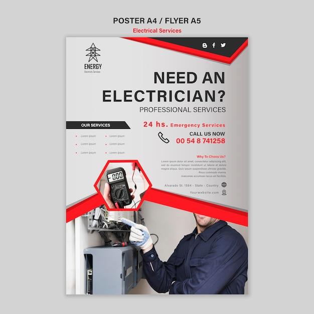 Posterstijl voor elektrische diensten Gratis Psd