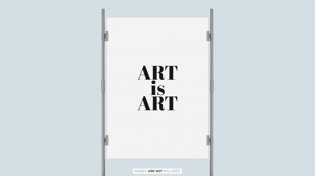 Postervertoning met zilveren frame psd mockup Premium Psd