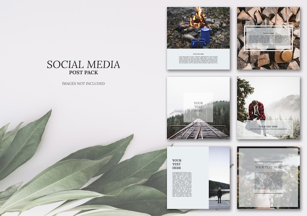 Postpakket voor sociale media Gratis Psd