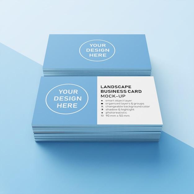 Premium 90x50 mm due impilati realistic landscape orizzontale business name card mock up design template in front prospettiva view Psd Premium