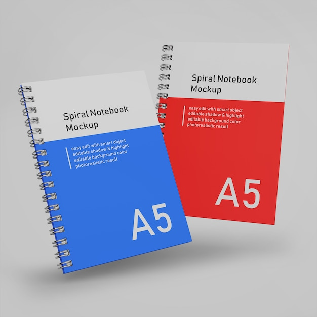 Premium, dos oficinas, cubierta dura, cuaderno espiral, carpeta, maqueta, diseño, plantilla, volar, en, vista delantera PSD Premium