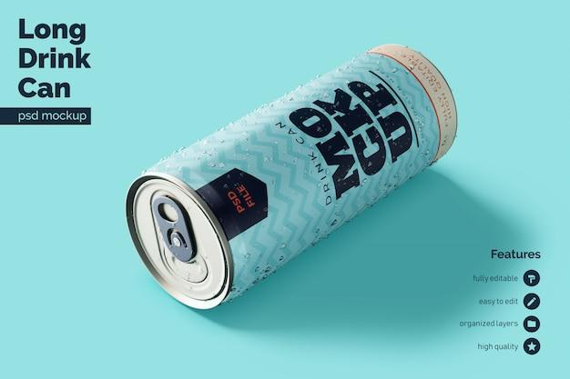Premium kwaliteit rustende en leunende voorste aluminium drank kan de sjabloon met ups bespotten Premium Psd