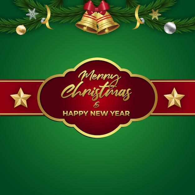 Prettige kerstdagen en gelukkig nieuwjaar achtergrond Premium Psd