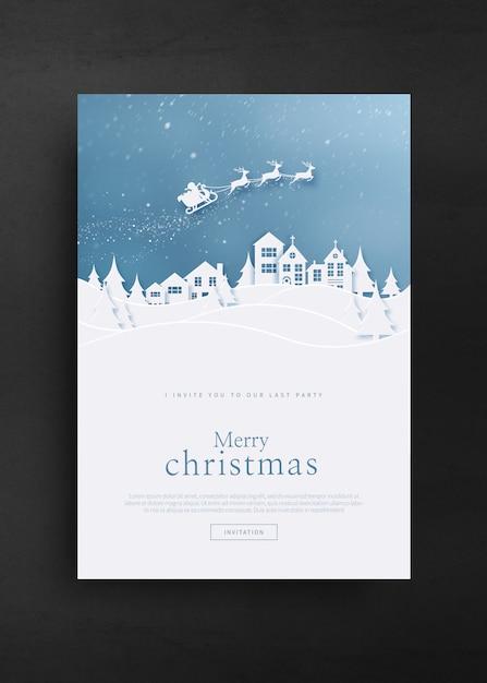 Prettige kerstdagen en gelukkig nieuwjaar wenskaartsjabloon Premium Psd
