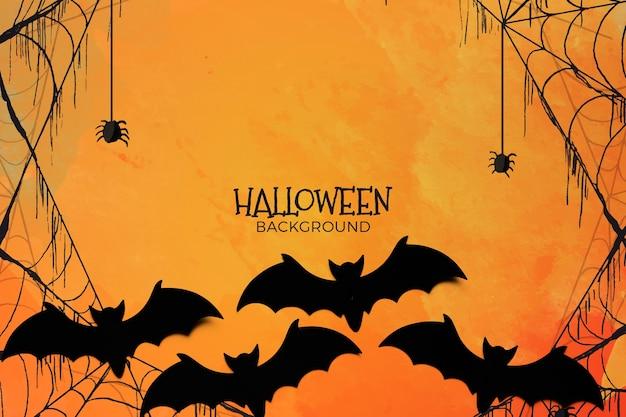 Priorità bassa di concetto di halloween con ragnatela e pipistrelli Psd Gratuite
