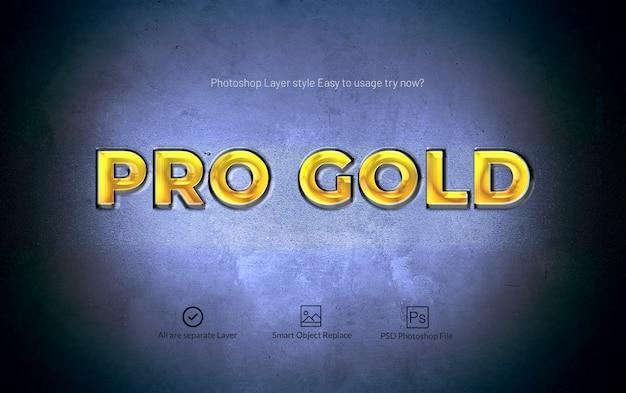Pro gold photoshop 3d-laagstijl teksteffect Premium Psd