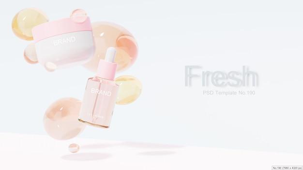 Prodotto di bellezza con bolla d'acqua rosa. rendering 3d Psd Premium