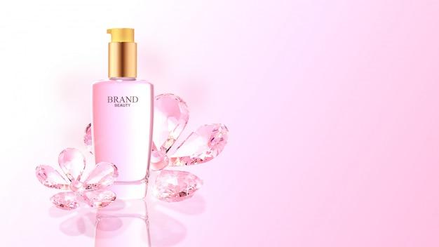 Prodotto di bellezza con fiori di diamante rosa Psd Premium