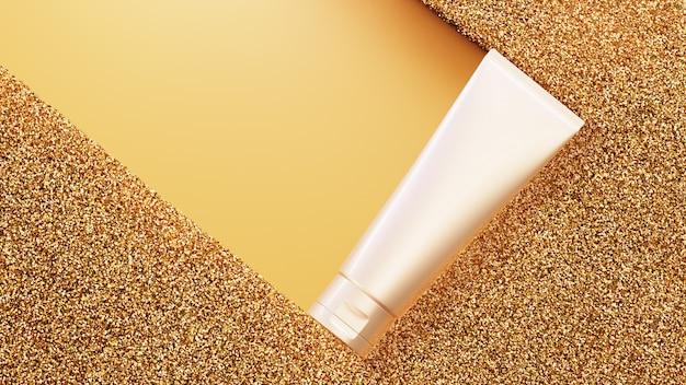 Producto de belleza sobre fondo de oro brillo. render 3d PSD Premium