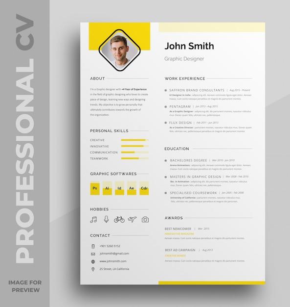 Profesional cv-sjabloon Premium Psd