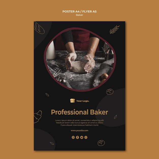 Professionele bakker poster sjabloon Gratis Psd