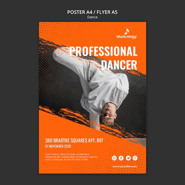 Professionele danser musicologie poster sjabloon Gratis Psd