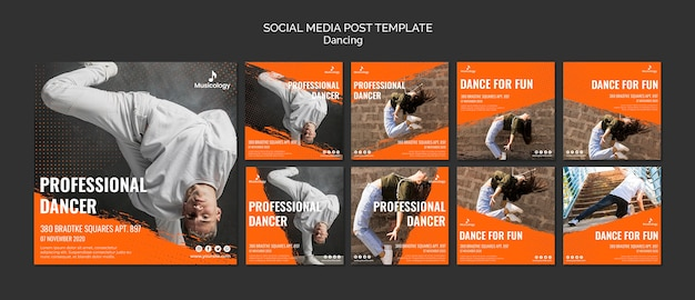Professionele danser sociale media post sjabloon Gratis Psd