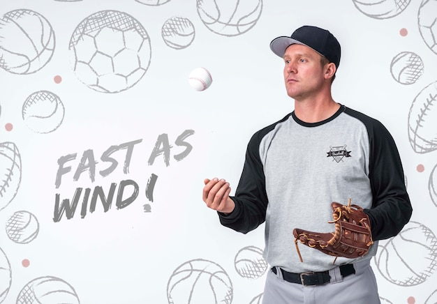 Professionele honkbalspeler poseren Gratis Psd