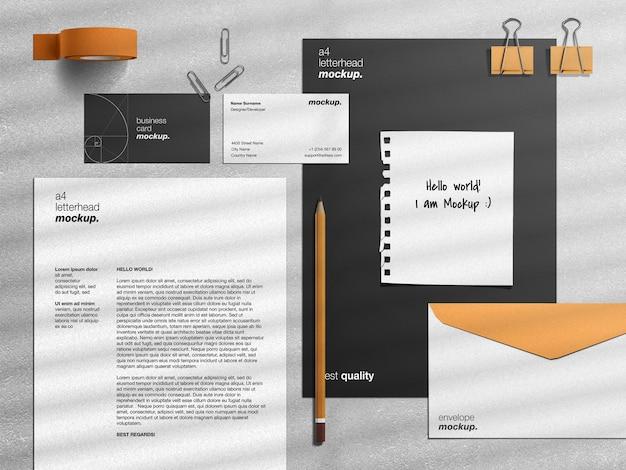 Professionele mockup voor zakelijke identiteitskaart en scèneschepper Premium Psd
