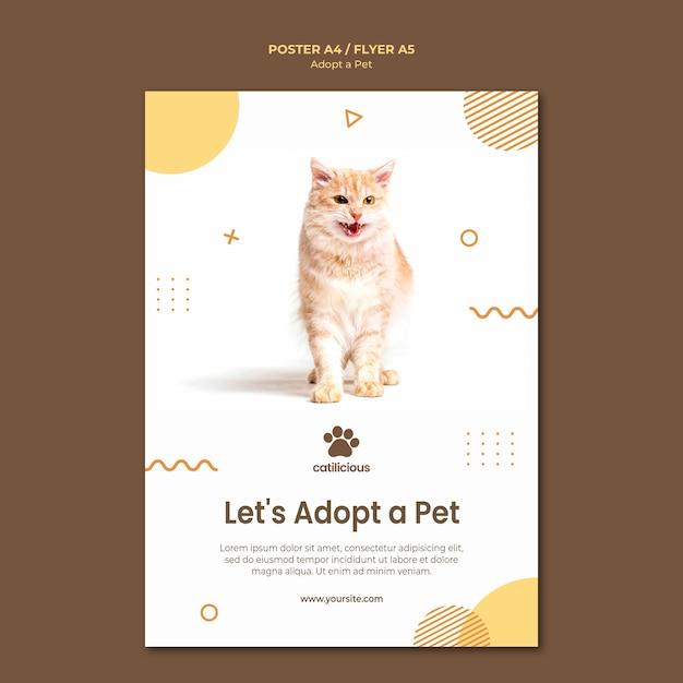 Progettazione del modello di volantino di adozione di animali domestici Psd Gratuite