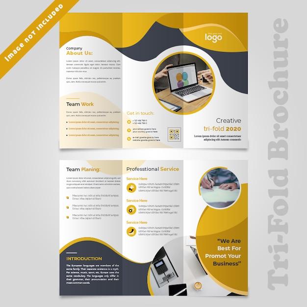 Progettazione dell'opuscolo di trifold di giallo astratto dell'onda Psd Premium