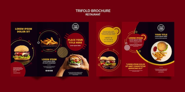 Progettazione di brochure a tre ante per ristorante Psd Gratuite