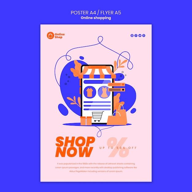 Progettazione di poster dello shopping online Psd Gratuite