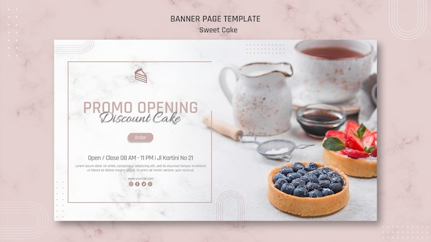 Promo opening zoete cakewinkel banner Gratis Psd