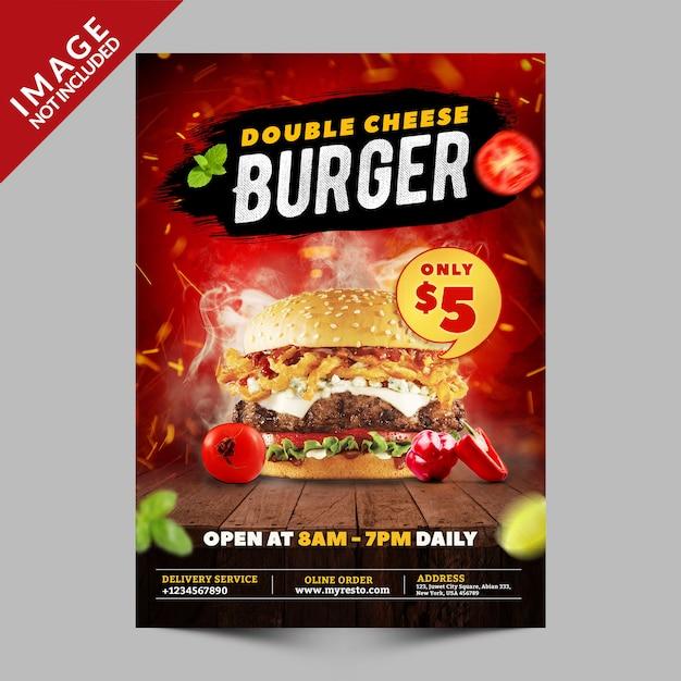 Promoción de cartel de hamburguesa con queso doble PSD Premium