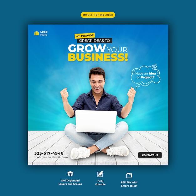 Promoción empresarial y plantilla de banner de redes sociales corporativas PSD gratuito
