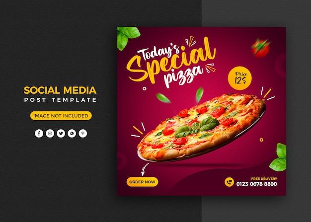 Promoción de pizza en redes sociales y plantilla de diseño de publicación de banner de instagram PSD Premium