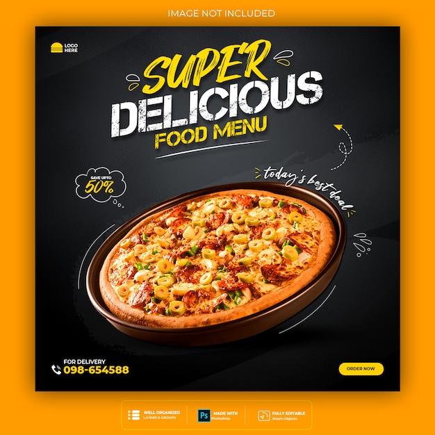 Promoción de redes sociales de alimentos y plantilla de diseño de publicación de banner de instagram PSD Premium