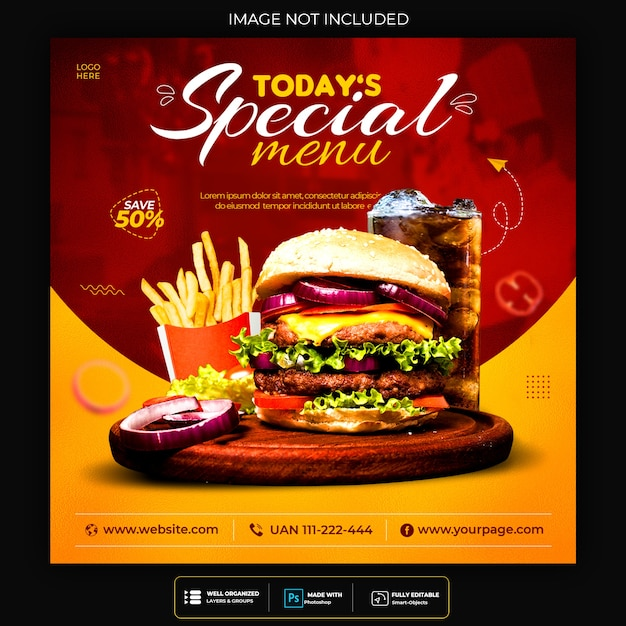 Promoción de redes sociales de alimentos y plantilla de diseño de publicación de banner de instagram PSD gratuito