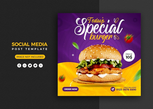 Promoción de redes sociales de hamburguesas y plantilla de diseño de publicación de banner de instagram PSD Premium