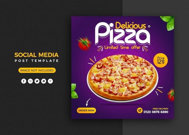Promoción de redes sociales de menú de pizza y plantilla de diseño de publicación de banner de instagram PSD Premium