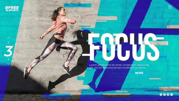 Promotie van webpagina's voor sport en technologie Gratis Psd