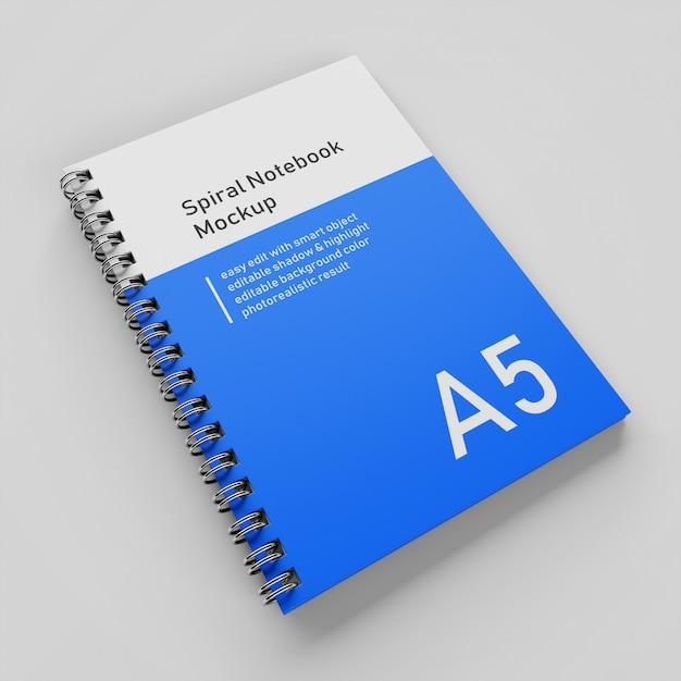 Pronto per l'uso di un modello di progettazione di mock-up per notebook a copertina rigida con copertina rigida dell'azienda a5 nella vista prospettica in alto a destra Psd Premium
