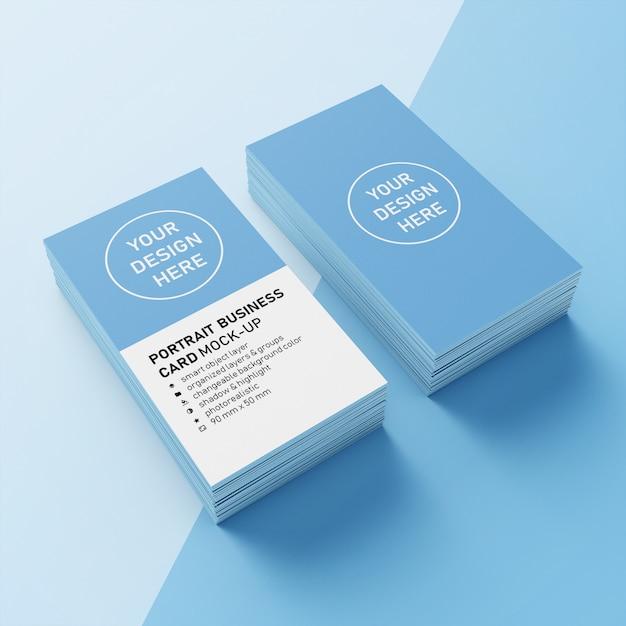 Pronto per l'uso premium two stack 90x50 mm verticale portrait business card modello di progettazione mock up in upper 3/4 view Psd Premium