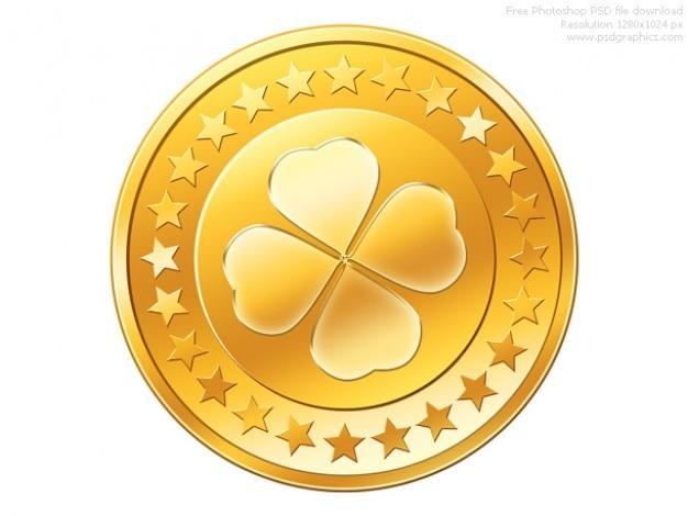 Psd gouden munt icoon Gratis Psd
