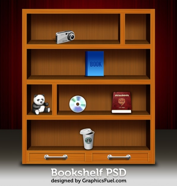 Superior Psd Librero De Madera Y Los Iconos | Descargar PSD Gratis