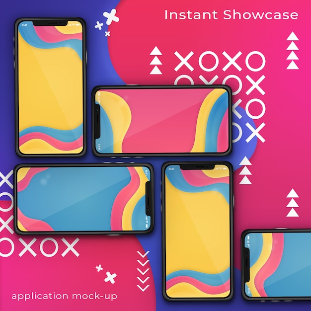 Psd-model van smartphone vijf op een kleurrijke abstracte achtergrond Premium Psd