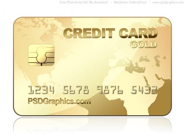 PSD oro plantilla de tarjeta de crédito Psd Gratis