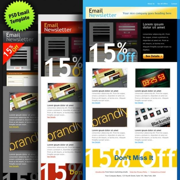 Psd plantilla de correo electrónico en colores | Descargar PSD gratis