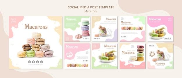 Publicación colorida en redes sociales de macarons franceses PSD gratuito