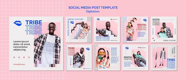 Publicación de redes sociales de cultura digital de hombre y mujer joven PSD gratuito