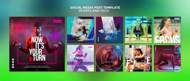 Publicación de redes sociales deportivas y tecnológicas PSD gratuito