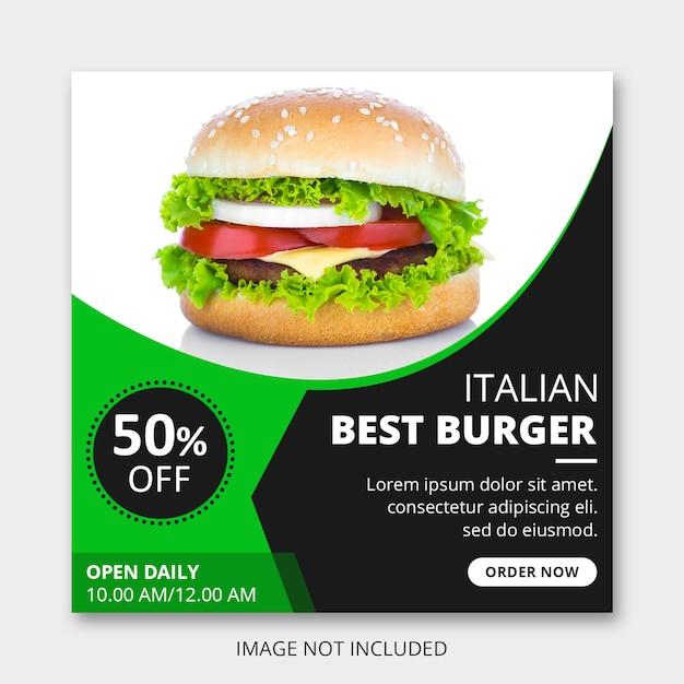 Publicación en redes sociales de hamburguesas italianas PSD Premium