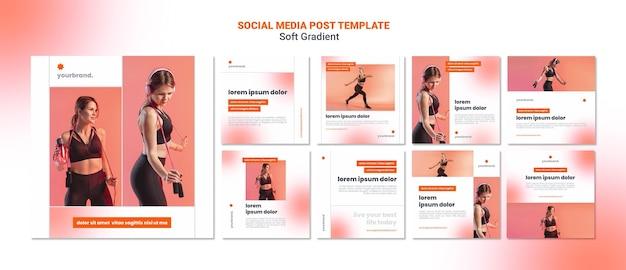 Publicación de redes sociales de mujer deportiva suave degradado PSD Premium