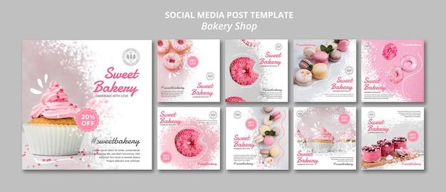 Publicación en redes sociales de panadería PSD gratuito