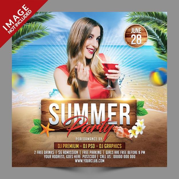 Publicación de redes sociales psd de summer party PSD Premium
