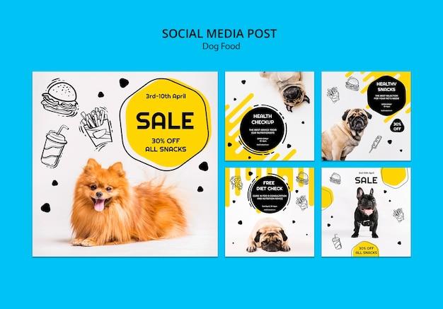 Publicación de redes sociales sobre comida para perros PSD gratuito