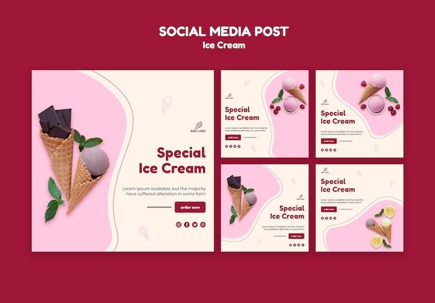 Publicación en las redes sociales de la tienda de helados PSD gratuito