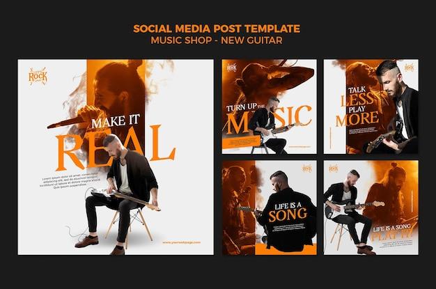 Publicación en redes sociales de la tienda de música PSD gratuito